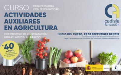 Comienza el curso de actividades auxiliares en agricultura en Fundación Cadisla