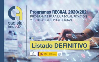 Listado definitivo del proceso de admisión de los programas RECUAL